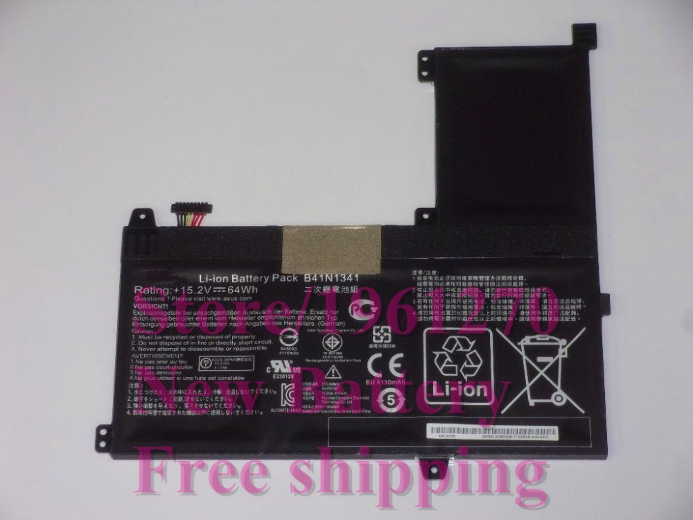 ФОТО New Original1 15.2V 64Wh B41N1341 Battery For Asus Asus Q502L Q502LA Series Laptop Free shipping