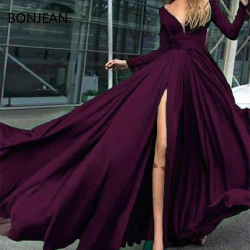 Charming Evening   Dresses   Custom Long Sleeves Dark Burgundy Simple Soft   Prom     Dresses   evening Custom Cheap   Prom     Dress