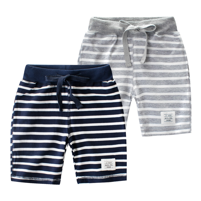 Children's shorts cotton summer boys' sports pants baby casual pants children's striped pants summer five pants tide striped tape applique velvet pants