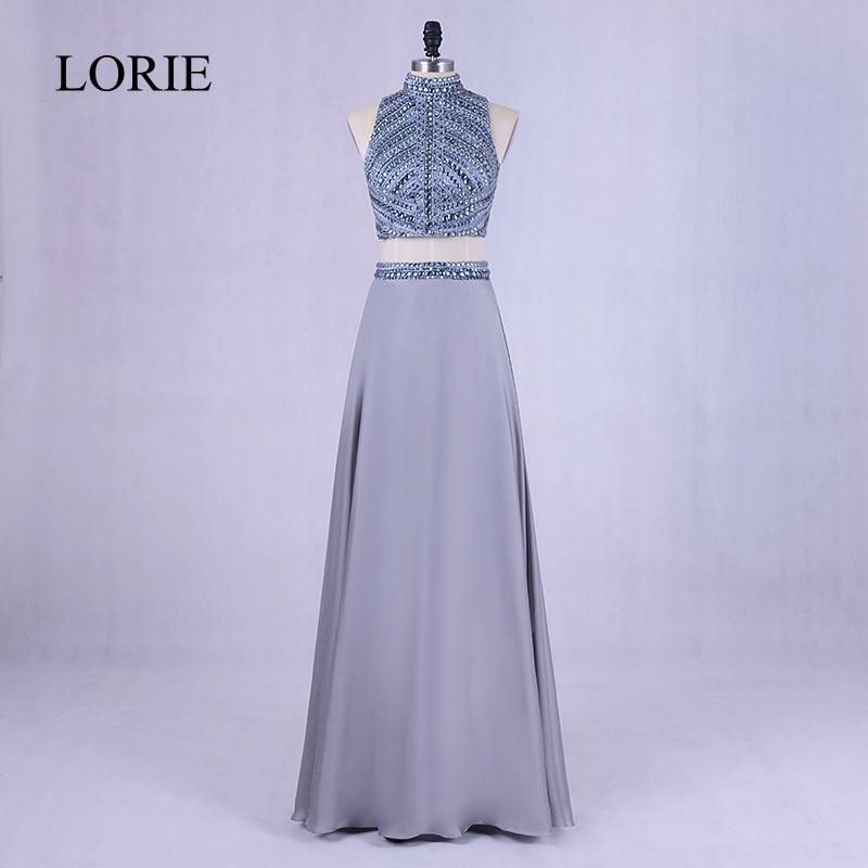 Crystals 2 Piece   Prom     Dresses   2018 LORIE Robe De Soiree High Neck Elegant Women Party Evening   Dress   Long Backless Floor Length