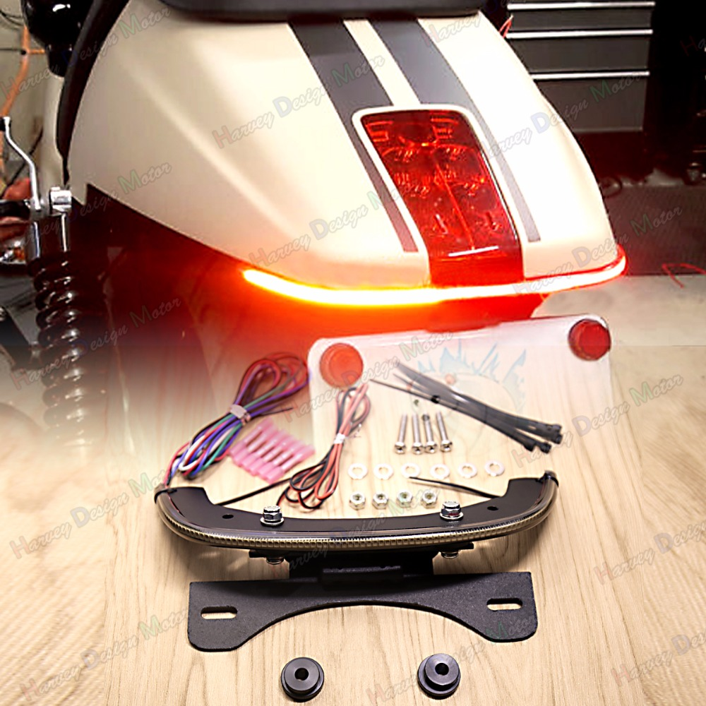 LED Fender Eliminator Integrated Tail Light Smoked Bar For Harley V-Rod 2012 13 14 15 16 17 brand new silver color motortcycle accessories abs plastic led tail light fit for harley harley iron 883 xl883n xl1200n chopped