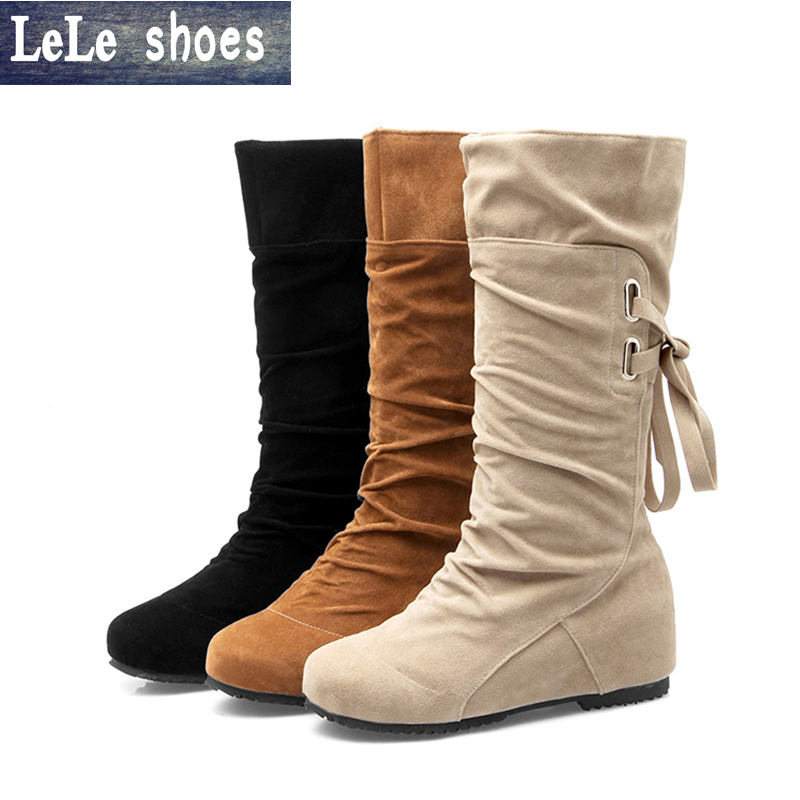 LELE New Brand Big Size 34-43 Winter Women Boots Mid-Calf High Quality Suede Leather Ladies Shoes Platform Boots Black White mid calf women boots black white brown big size 34 43 new winter mid calf women boots black white brown for choice flats shoes