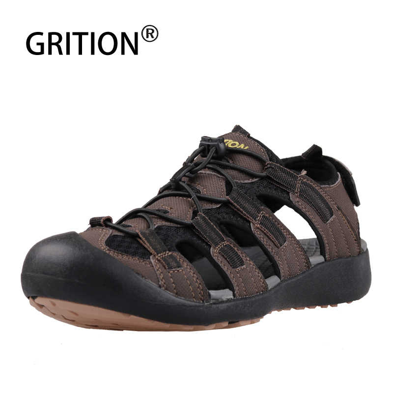 GRITION Men Sandals Flat Hiking Sport Shoes Outdoor Summer Trekking Walking Leather Male Beach Lightweight Fashion Big Size Shoe
