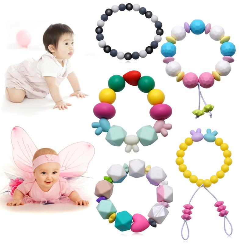 Silicone Bracelet Baby Teether Fashion Chic Personality Character Trend Silicone Bracelet Round Beads Baby Teeth Training Tool