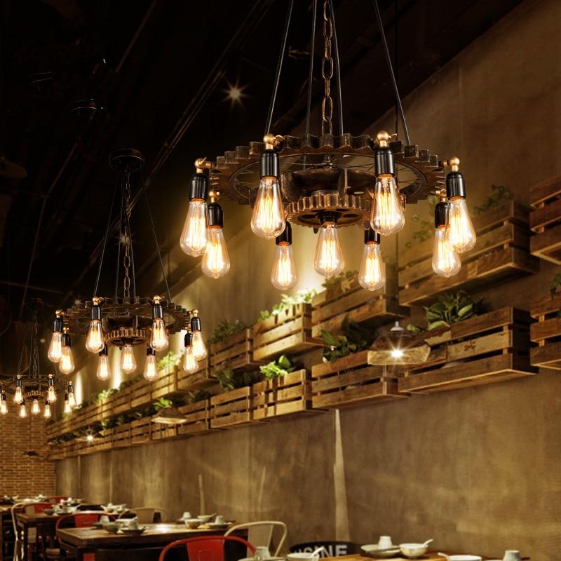 Creative Loft Pendant Lamp Vintage Iron Wood Gear Light Bar Study Dining Room Living Room Restaurant Cafe Chandelier Headlight