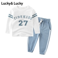 Cotton Kids Clothes Sports Suit For Baby Boys And Girls Striped And Letter Printed T Shirt