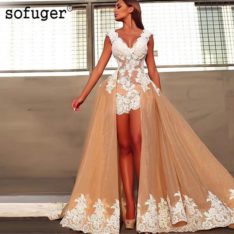 Champion Sexy Backless V Neck Applique High Low Organza Evening Dress Prom Vestidos De Fiesta Formal Party Dress Court Train