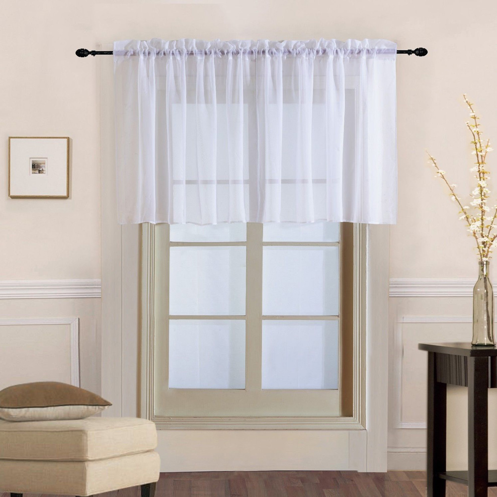 1 Piece Rod Pocket Pure Color Sheer Short Curtains Valance Tie For Small Window Voile Drapes Roman Tulle Kitchen Cafe DL184B