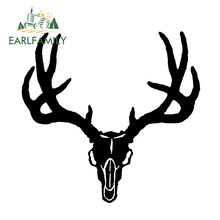 EARLFAMILY 14cm x 14cm White Vinyl Decal Mule Deer Skull Hunt Antlers Bones Hunting Sticker Country Car Styling Black/Silver(China)