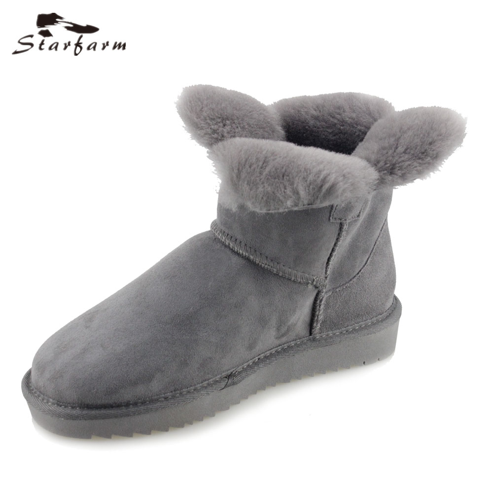 STARFARM Genuine Leather Boots Wool Boot Warm Shoes Winter Women Bootie Snow Boots Russian Bootie Grey Bootie цена