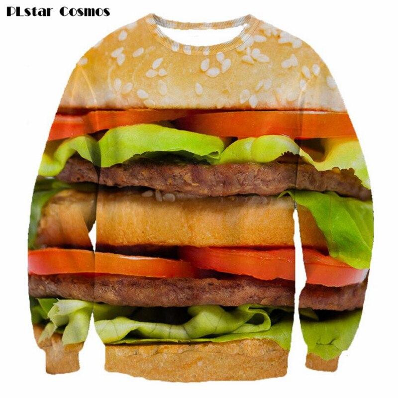 PLstar Cosmos 3D nyomtatott hamburger férfi pulóver kapucnis - Férfi ruházat
