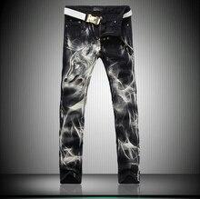 2015 европейских стиль мужская мода свободного покроя джинсы высокое качество люксовый бренд печать сексуальная тонкий прямой ночные клубы джинсы черный