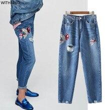 Freeshipping джинсы женщина джинсы женщина джинсы femme 2017 досуг Карп вышивка Заклепки украшения Отверстие в джинсах