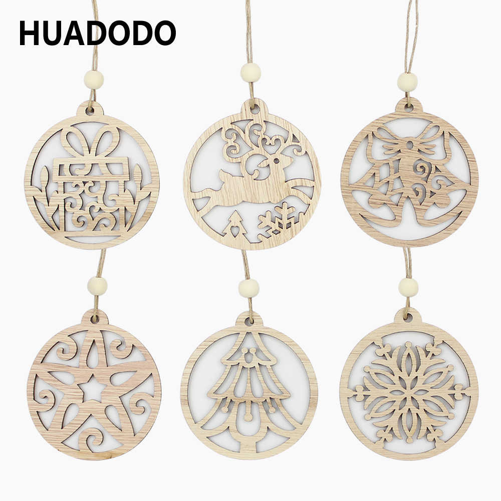 HUADODO 6Pcs Wood Chip Christmas Pendants Ornaments Xmas Tree decorations for Home Christmas Party Decoration supply