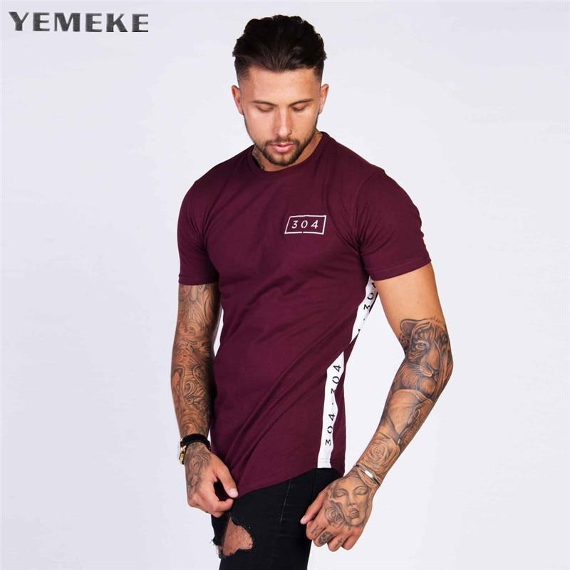 YEMEKE Mens T Shirt Gyms Fitness Printed T-shirt Fashion Bodybuilding Slim Shirts O-neck Short Sleeves Cotton T Shirt Men