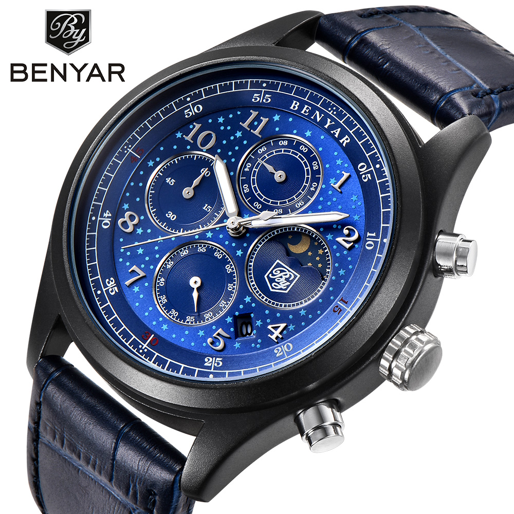 BENYAR Mens Watches Top Brand Luxury Waterproof Moon Phase Date Quartz Watch Man Leather Sport Wrist Watch Men Waterproof Clock olevs big dial watches men moon phase men watches top brand luxury quartz watch man leather sport wrist watch clock relogio saat