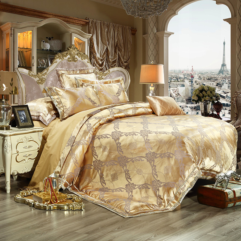 2017 luxury jacquard bedding set 4pcs king queen size bed 10550 | 2017 luxury jacquard bedding set 4pcs king queen size bed linen gold duvet cover embroidery satin
