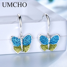 UMCHO Sequins 925 Sterling Silver Butterfly Drop Earrings for Women Party Fine Jewelry Gifts