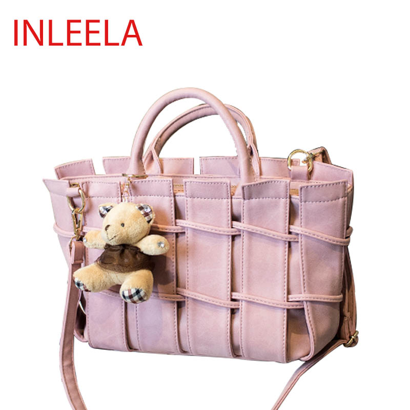 INLEELA Little Bear Bag Lovely Women Shoulder Bag Winter Scrub Women Handbag Fashion Messenger Bag