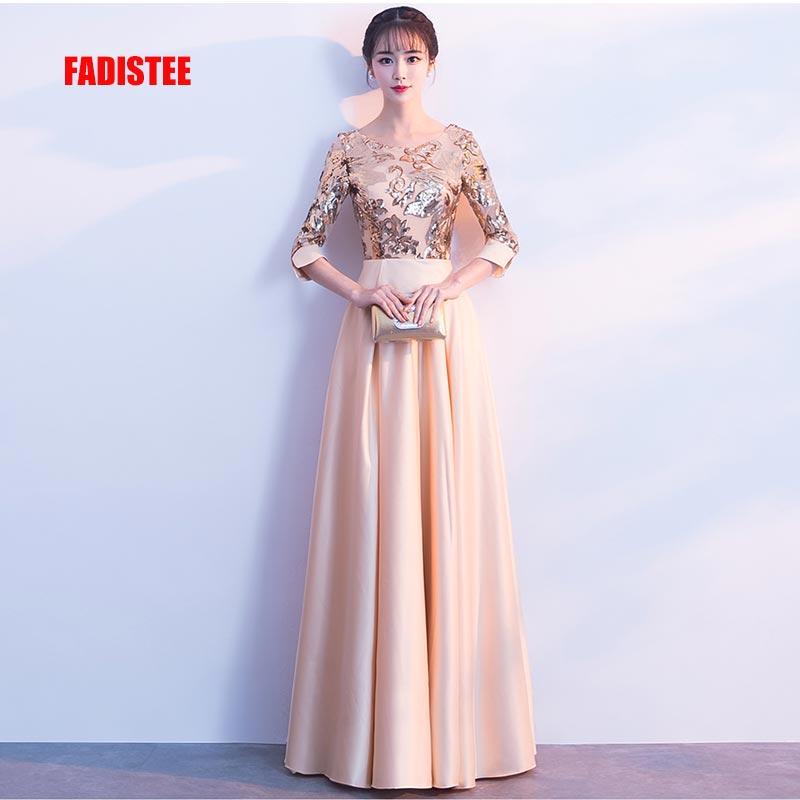 FADISTEE new arrive party prom dress Vestido de Festa gold sequins A-line evening elegant 3/4 sleeves long zipper free shipping