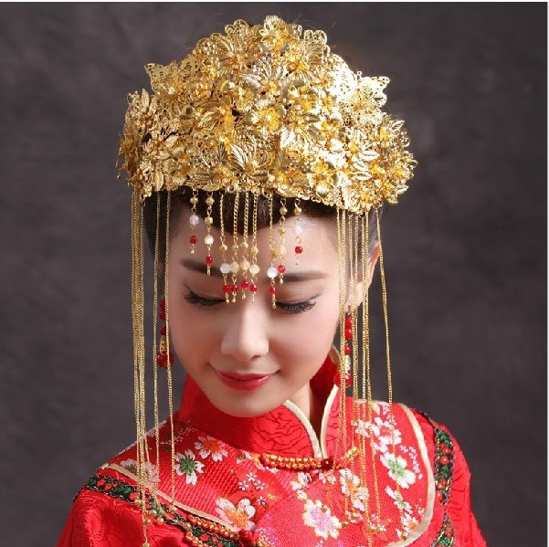 Wedding Bride Headdress Chinese Style Crowns and Tiaras gold flower Hair Ornament ethnic accessories for women AQ2133 00009 red gold bride wedding hair tiaras ancient chinese empress hair piece