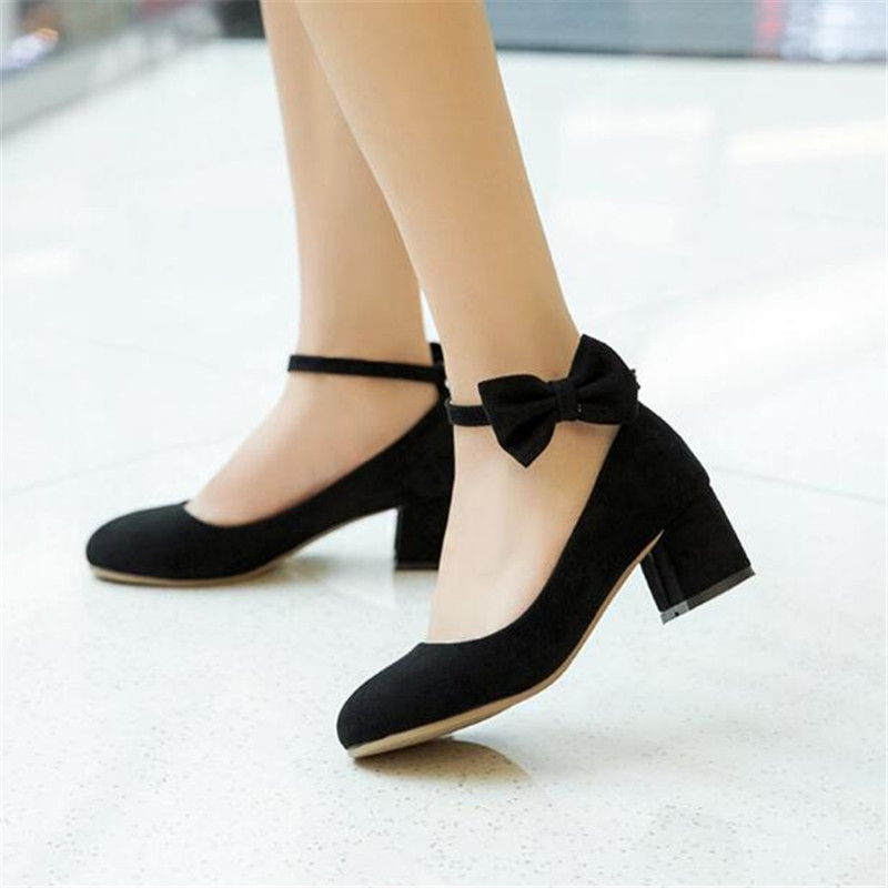 Image 5 - New Spring/Autumn High heeled Shoes Girls Princess Flock Bow Student High heels Children School Kids Performance Shoes 041-in Leather Shoes from Mother & Kids