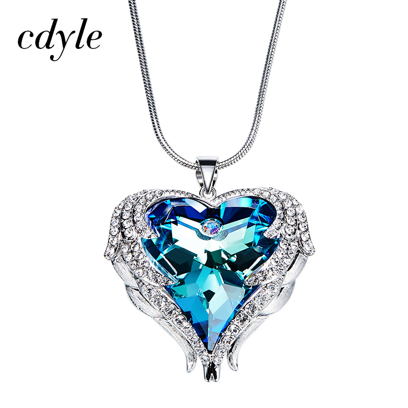 Cdyle Crystals From Swarovski Necklaces Women Pendants Heart Shaped Blue Purple AB Luxury Fashion Jewelry Austrian Rhinestone