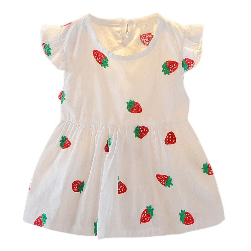 Newborn Baby Girl Dress Summer Sleeveless Printed Dress For Girls Fashion Print Strawberry Cute Princess Dress Baby Girl Clothes