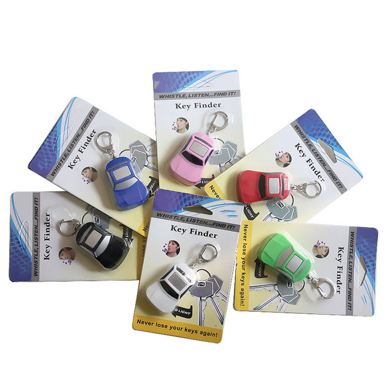 Car Shape Wireless Anti-Lost Alarm Key Finder Locator Keychain Whistle Sound Control LED Light Key Finder Tracker Find Lost Keys new arrival fashion design 2 in 1 alarm remote wireless key finder seeker locator find lost key 2 receiver anti lost alarm
