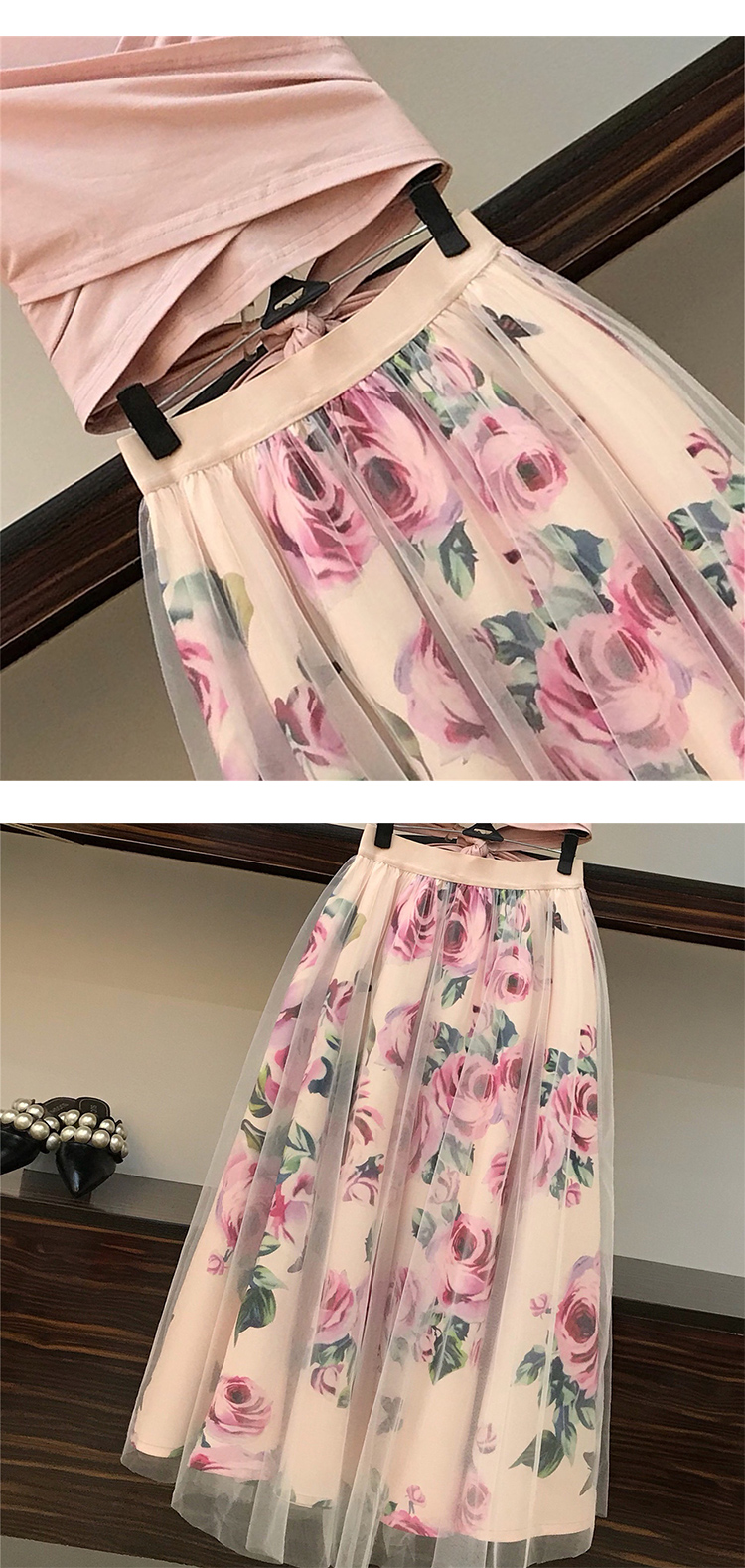 HTB1jCAjMsbpK1RjSZFyq6x qFXaI - HIGH QUALITY Women Irregular T Shirt+Mesh Skirts Suits Bowknot Solid Tops Vintage Floral Skirt Sets Elegant Woman Two Piece Set