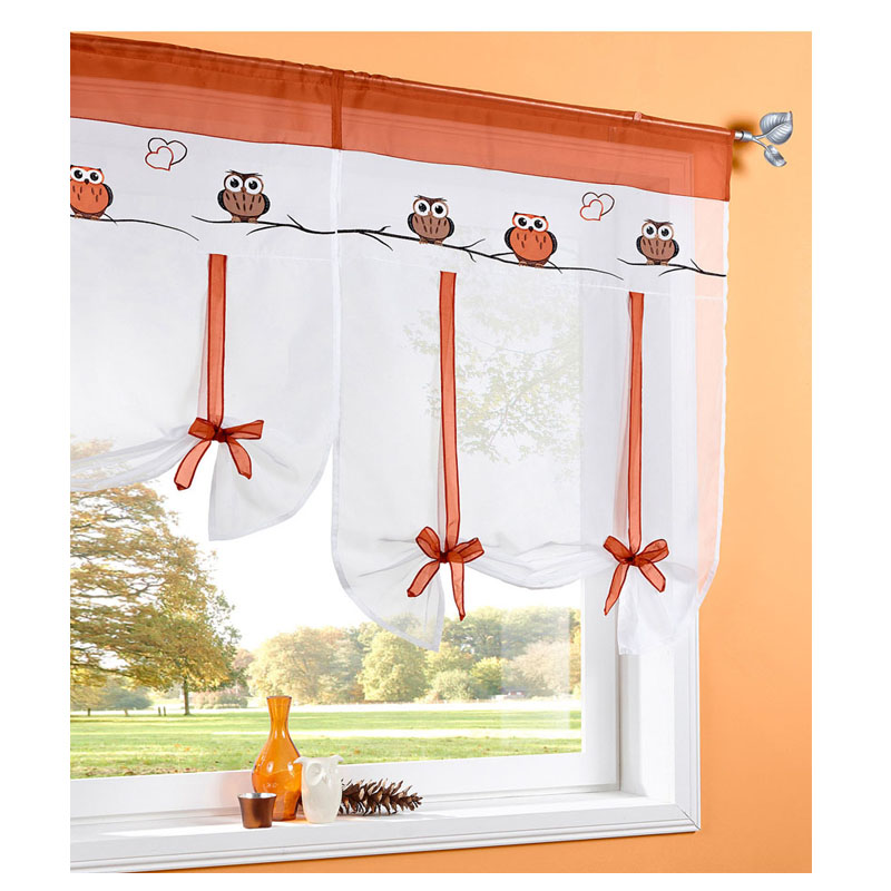 Owl Love Flying Window Tulle Yarn Kitchen Bay Screen Curtains For Living Room Divider Home Transparent Sheer Drapes Window Voile