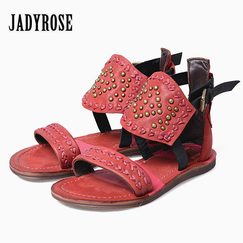 Jady Rose Fashion Red Women Genuine Leather Gladiator Sandals Rivets Studded Flat Shoes Woman Embroidery Casual Beach Flats cute cartoon camera style usb 2 0 flash driver disk black 4gb