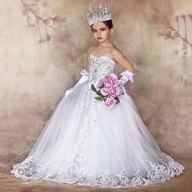 60074bcdff40 Luxury Girl White Princess Dress Flower Girl Dresses For wedding ...