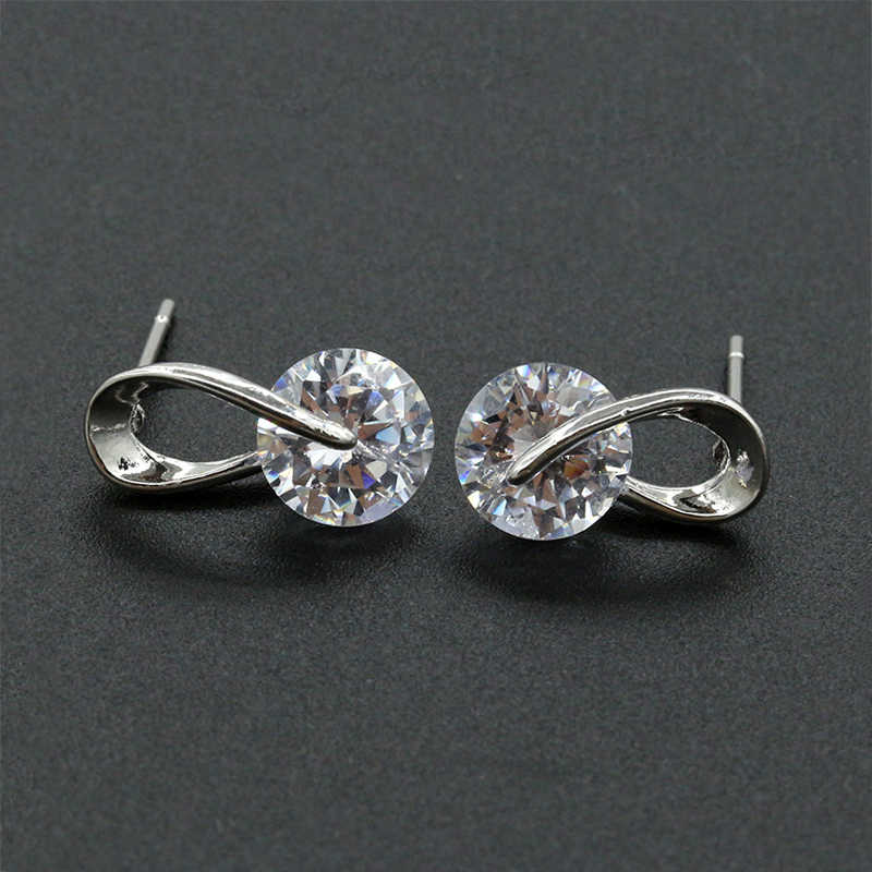 Austria Crystal Wedding Pendientes Mujer Silver Color Zircon Crystal Stud Earrings Fashion Jewelry Earrings For Women