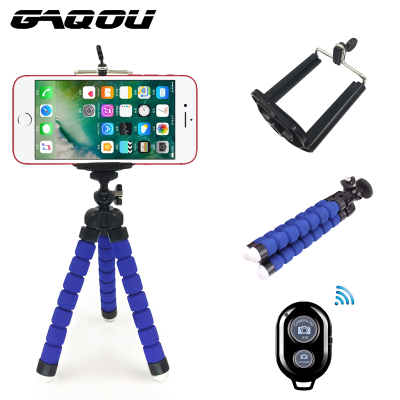 GAQOU 3 in 1 With Remote Control Mini Flexible Mount Holder Camera Phone Octopus Tripod Bracket Stand Holder Mount For Gopro universal cell phone holder mount bracket adapter clip for camera tripod telescope adapter model c
