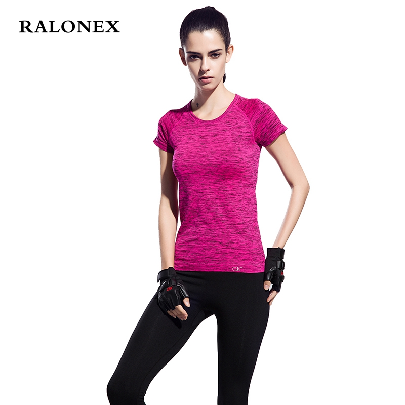 RALONEX Women Yoga Shirts Breathable Clothing Sport Fitness Short Sleeve T Shirt Gym Running Quick Dry Yoga Tops