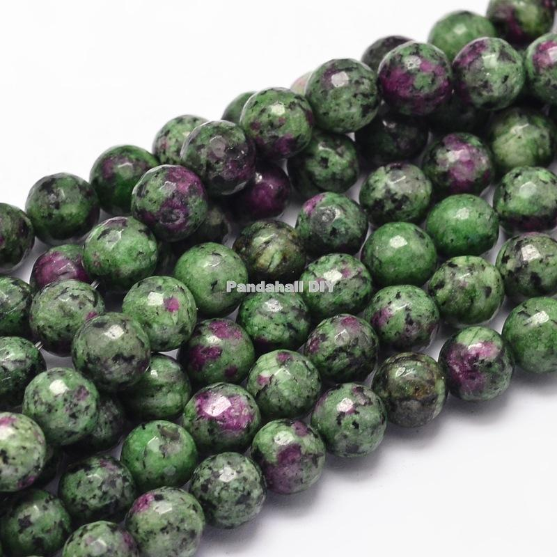 """dyed natural stone round bead strands, imitated <font><b>ruby</b></font> in <font><b>zoisite</b></font>, faceted, 6mm, hole: 1mm; about 62pcs/strand, 15.5""""."""