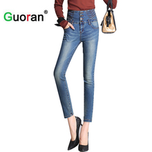 {Guoran} high waisted jeans skinny for women white blue denim jeans pencil pants plus size 26-33 summer high stretch leggings