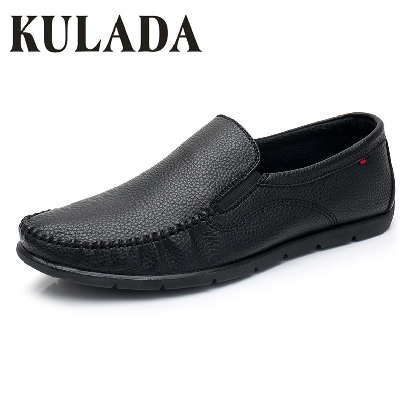 KULADA New  Men's Shoes Leather Spring&Summer Shoes Soft Fashion Walking Casual Comfortable Men Moccasins Shoes