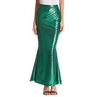 Grace Karin Long Mermaid Maxi Skirt Womens High Waist Stretch Bodycon Shinny Fish Scale Printed Trumpet