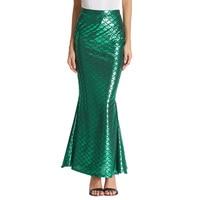 Grace Karin Long Mermaid Maxi Skirt Womens High Waist Stretch Bodycon Shinny Fish Scale Printed Trumpet