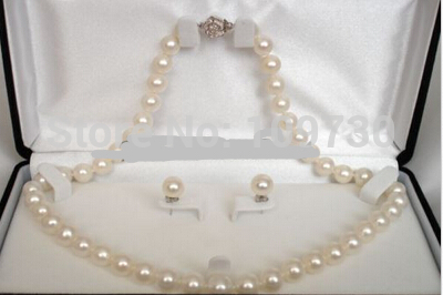 Jewelry 00911 Set Genuine AAA ROUND 9-10mm White Pearl Necklace Cultured FreshwaterJewelry 00911 Set Genuine AAA ROUND 9-10mm White Pearl Necklace Cultured Freshwater