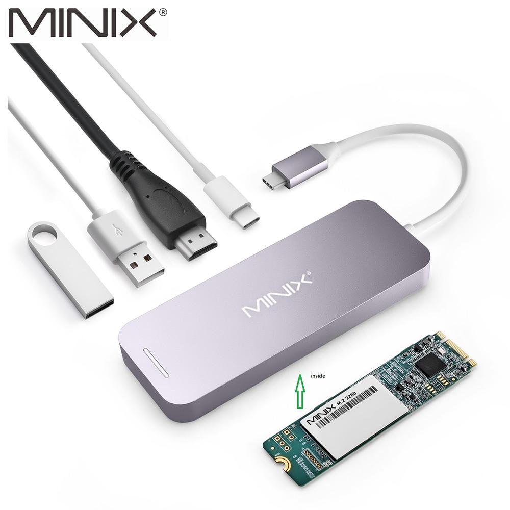 MINIX NEO C-S2 USB-C Multiport SSD De Armazenamento Tipo C HDMI Hub USB Hub USB 3.0 120G/240G transferências de alta-velocidade Tudo Em Um para MacBook