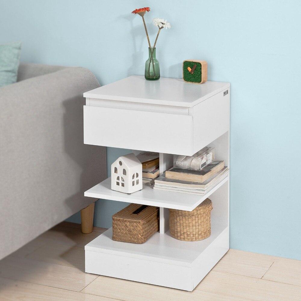 SoBuy FBT49 Table de chevet Table d'appoint Bout de Canapé avec 1 tiroir et 2 étagères de rangement