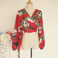 Retro Floral Printed Silk Shirts Sexy V Neck Cross Kimono Flowers Satin Blouses Lantern Sleeve Sashes High waist Tops Cardigan