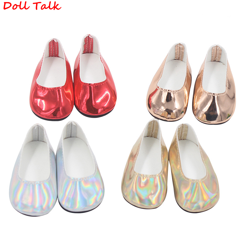 Doll Talk 18 Inch Americanl PU Leather Doll Shoes Gir Fashion Cool Streamer Discoloration Shoes For 43cm Bjd Baby Doll