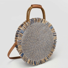 New 2019 Summer Women Beach hand-woven Handbag Round Rattan Straw Woven Bag Crossbody Holiday Circle Retro