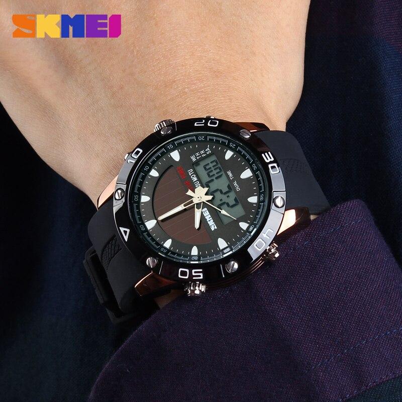 Relógio de Quartzo Relógios de Pulso ao ar Marca Energia Solar Masculino Livre Multifuncional Skmei