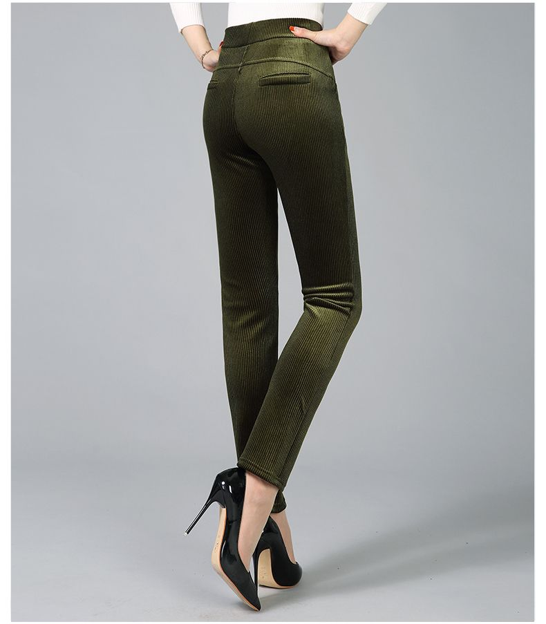 Women Elegant Striped Velvet Pants Slim Fit Corduroy Trousers Woman Red Green Black Blue Pant Bottoming Trouser Lady (19)