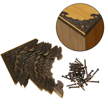 12PCS Antique Jewelry Box Corner Foot Wooden Case Corner Protector Bronze Tone Flower Pattern Carved Metal Crafts 40X40mm MAYITR